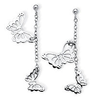 Danging Cutout Butterfly Drop Earrings in .925 Sterling Silver