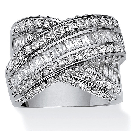 "3.64 TCW Round and Baguette Cubic Zirconia Crossover ""X"" Ring Platinum-Plated at PalmBeach Jewelry"