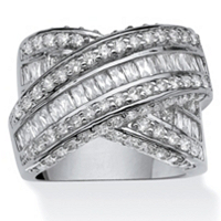"""3.64 TCW Round And Baguette Cubic Zirconia Crossover """"X"""" Ring Platinum-Plated ONLY $47.14"""