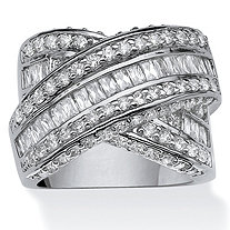 "3.64 TCW Round and Baguette Cubic Zirconia Crossover ""X"" Ring Platinum-Plated"