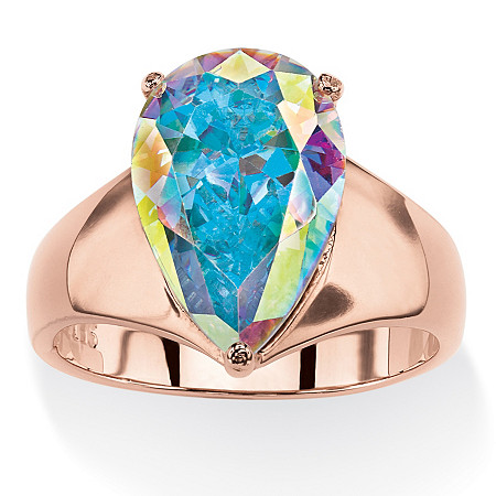5.75 TCW Pear-Cut Aurora Borealis Cubic Zirconia Cocktail Ring in Rose Gold-Plated at PalmBeach Jewelry