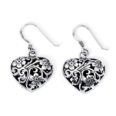 Filigree and Flowers Puffed Heart Drop Earrings in Antiqued Sterling Silver at PalmBeach Jewelry
