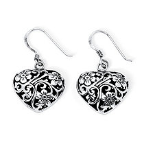 Filigree and Flowers Puffed Heart Drop Earrings in Antiqued Sterling Silver