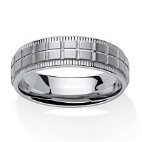 Men's Grid Pattern Comfort Fit Band in Stainless Steel (7mm)