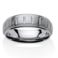 Men's Block Pattern Comfort Fit 7 Mm Band In Stainless Steel ONLY $19.99