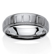 Men's Block Pattern Comfort Fit 7 mm Band in Stainless Steel