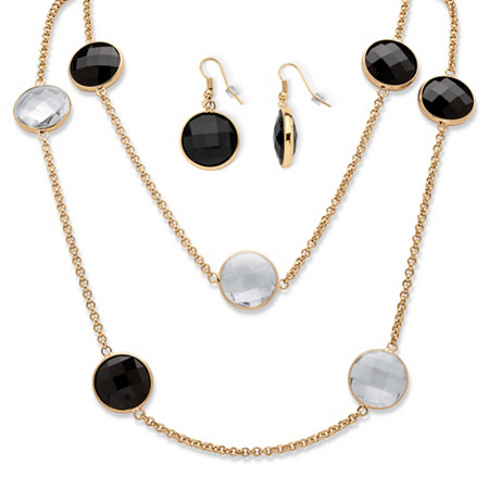 Round Checkerboard-Cut Black and White Crystal Station Necklace and Earrings Set in Gold Tone at PalmBeach Jewelry