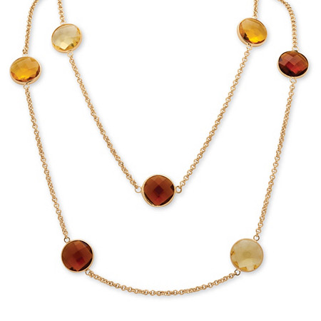 Round Checkerboard-Cut Canary Yellow and Smoky Quartz Crystal Necklace and Earrings Set in Gold Tone at PalmBeach Jewelry