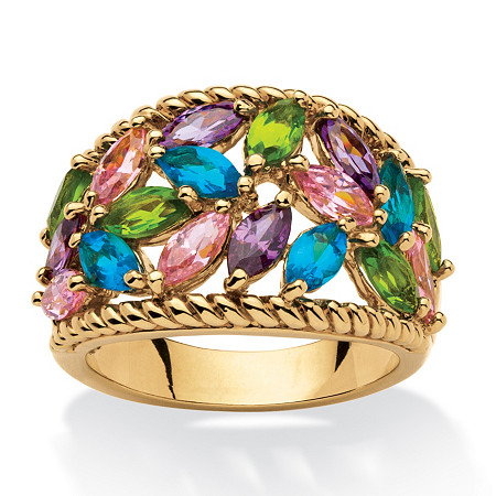 2.25 TCW Marquise-Cut Multicolor Cubic Zirconia and Glass Cocktail Ring 18k Gold-Plated at PalmBeach Jewelry