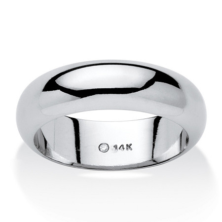 14k White Gold  Nano Diamond Resin Filled Wedding Band (6mm) Sizes 6-12 at PalmBeach Jewelry