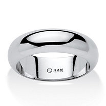 14k White Gold  Nano Diamond Resin Filled Wedding Band (6mm) Sizes 6-12