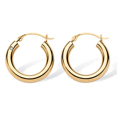 14k Gold Hoop Earrings Nano Diamond Resin Filled  (3/4