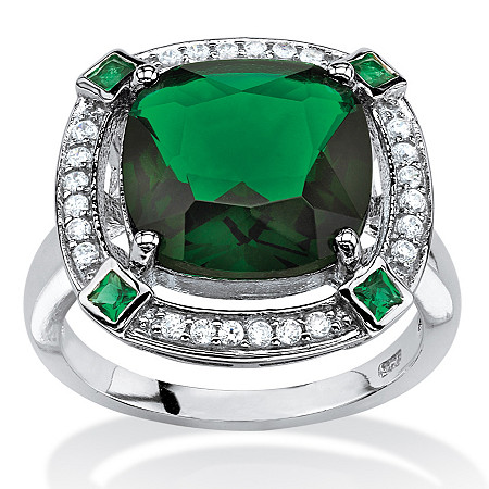 4.88 TCW Princess-Cut Simulated Emerald Halo Cocktail Ring in Platinum over Sterling Silver at PalmBeach Jewelry