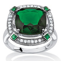 SETA JEWELRY 4.88 TCW Princess-Cut Simulated Emerald Halo Cocktail Ring in Platinum over Sterling Silver