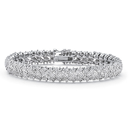 .86 TCW Diamond Snake-Link Bracelet Platinum-Plated at PalmBeach Jewelry