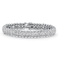 SETA JEWELRY 1 TCW Diamond Snake-Link Bracelet Platinum-Plated