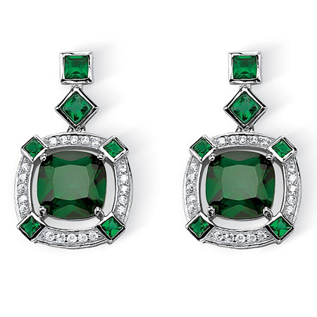 6.46 TCW Princess-Cut Simulated Emerald Halo Drop Earrings in Platinum over .925 Sterling Silver at PalmBeach Jewelry