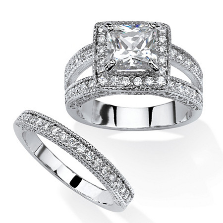 2.41 TCW Princess-Cut Cubic Zirconia 2-Piece Halo Bridal Set in Platinum Over Sterling Silver at PalmBeach Jewelry