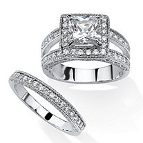 2.41 TCW Princess-Cut Cubic Zirconia 2-Piece Halo Bridal Set in Platinum Over Sterling Silver