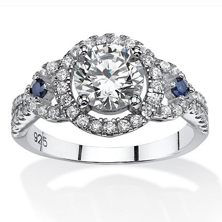 2.02 TCW Cubic Zirconia Halo Ring with Simulated Sapphire Accents in Platinum Over Sterling Silver at PalmBeach Jewelry