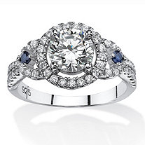 2.02 TCW Cubic Zirconia Halo Ring with Simulated Sapphire Accents in Platinum Over Sterling Silver