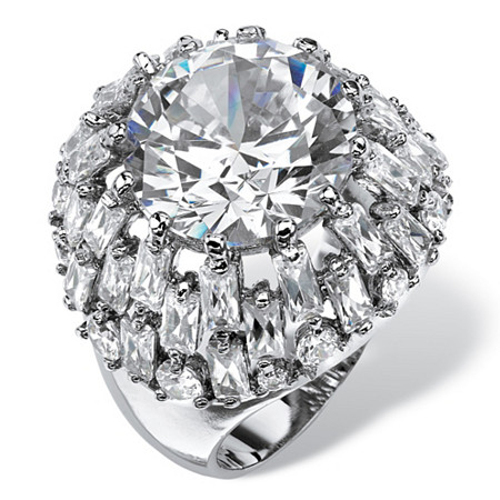 12 TCW Round and Baguette-Cut Cubic Zirconia Dome Cocktail Ring Platinum-Plated at PalmBeach Jewelry