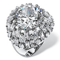 12 TCW Round and Baguette-Cut Cubic Zirconia Dome Cocktail Ring Platinum-Plated