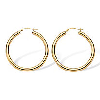 14k Yellow Gold Hoop Earrings Nano Diamond Resin Filled (1 3/8