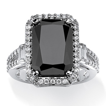 8.34 TCW Princess-Cut Black Cubic Zirconia Halo Ring with White Round and Baguette CZ Accents Platinum-Plated at PalmBeach Jewelry