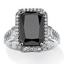 8.34 TCW Princess-Cut Black Cubic Zirconia Halo Ring with White Round and Baguette CZ Accents Platinum-Plated