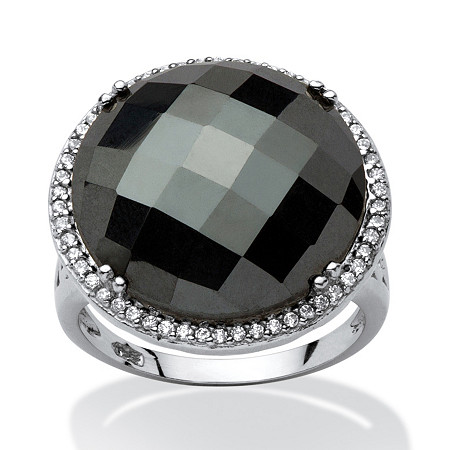 Round Checkerboard-Cut Simulated Black Onyx Halo Cocktail Ring Rhodium-Plated at PalmBeach Jewelry