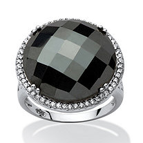 Round Checkerboard-Cut Simulated Black Onyx Halo Cocktail Ring Rhodium-Plated
