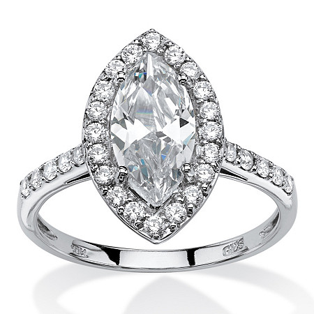 2.45 TCW Marquise-Cut Cubic Zirconia Halo Bridal Ring in 10k White Gold at PalmBeach Jewelry