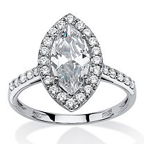 2.45 TCW Marquise-Cut Cubic Zirconia Halo Bridal Ring in 10k White Gold
