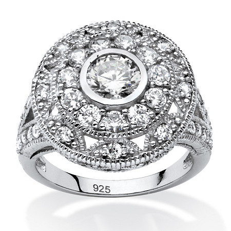 2.29 TCW Round Cubic Zirconia Vintage-Inspired Halo Ring in Platinum Over .925 Sterling Silver at PalmBeach Jewelry