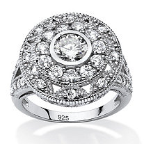 2.29 TCW Round Cubic Zirconia Vintage-Inspired Halo Ring in Platinum Over .925 Sterling Silver