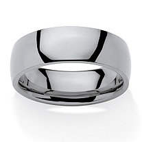 Men's Polished Comfort Fit 7 mm Wedding Band in Stainless Steel