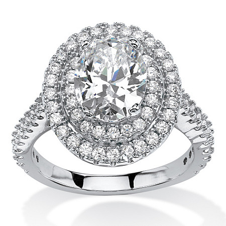 2.64 TCW Oval-Cut Cubic Zirconia Double Halo Ring in Platinum Over Sterling Silver at PalmBeach Jewelry