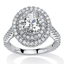 2.64 TCW Oval-Cut Cubic Zirconia Double Halo Ring in Platinum Over Sterling Silver