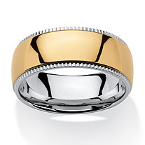 SETA JEWELRY Men's Two-Tone 9 mm Comfort Fit Wedding Band in Gold Ion-Plated Stainless Steel