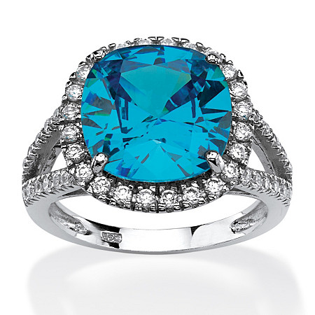 4.45 TCW Cushion-Cut Turquoise Cubic Zirconia Halo Cocktail Ring in Rhodium-Plated Sterling Silver at PalmBeach Jewelry