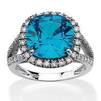 4.45 TCW Cushion-Cut Turquoise Cubic Zirconia Halo Cocktail Ring in Rhodium-Plated Sterling Silver