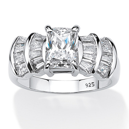 3.10 TCW Emerald-Cut Cubic Zirconia Anniversary Ring in Platinum Over .925 Sterling Silver at PalmBeach Jewelry