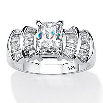 SETA JEWELRY 3.10 TCW Emerald-Cut Cubic Zirconia Anniversary Ring in Platinum Over .925 Sterling Silver