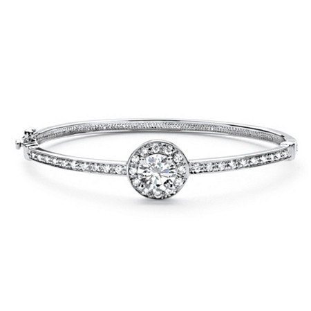 2.96 TCW Round Cubic Zirconia Halo Bangle Bracelet in Rhodium-Plated Finish at PalmBeach Jewelry
