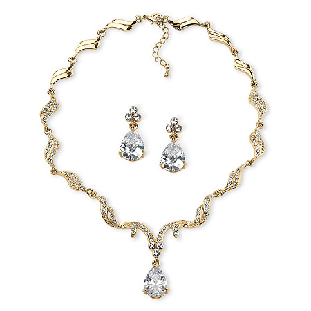 30 TCW Pear-Cut Cubic Zirconia and Crystal Jewelry Set in Gold Tone Finish at PalmBeach Jewelry