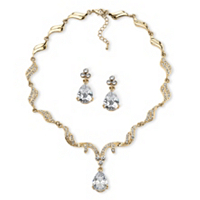 Pear-Cut Cubic Zirconia And Crystal Jewelry Set