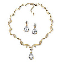 30 TCW Pear-Cut Cubic Zirconia and Crystal Jewelry Set in Gold Tone Finish