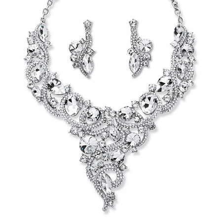 Round and Marquise-Cut Crystal Scroll Necklace and Earrings Set Rhodium-Plated at PalmBeach Jewelry