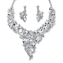 Round and Marquise-Cut Crystal Scroll Necklace and Earrings Set Rhodium-Plated
